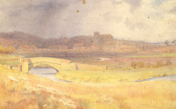 A.K. Rudd, Town View with River -Original late 19th-century watercolour painting