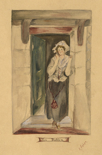 "A. Fisher, Woman in Doorway ""The Problem"" - 19th-century watercolour painting"