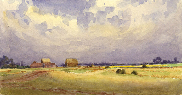 A.K. Rudd, Farmland View - Original late 19th-century watercolour painting