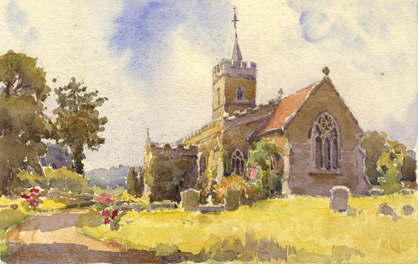 A.K. Rudd, Church and Gardens - Original late 19th-century watercolour painting