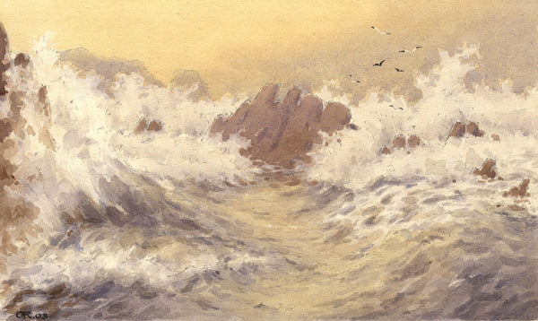 A.K. Rudd, Stormy Seascape - Original 1903 watercolour painting