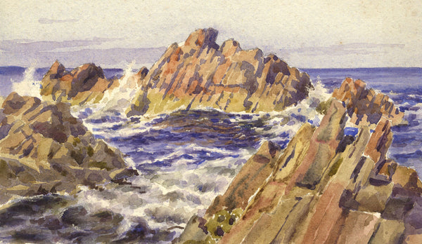 A.K. Rudd, Sea Rocks - Original late 19th-century watercolour painting