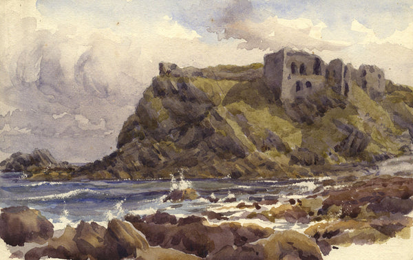 A.K. Rudd, Sea Cliffs with Castle Ruin - Late 19th-century watercolour painting