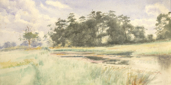 A.K. Rudd, River Landscape  - Original late 19th-century watercolour painting