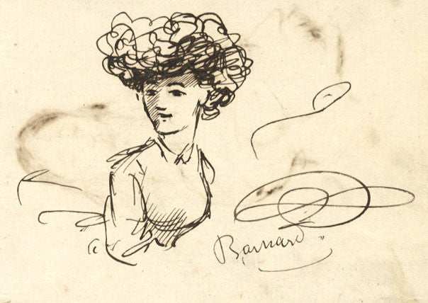 Fred Barnard Victorian Woman 19th Century Pen Ink Drawing