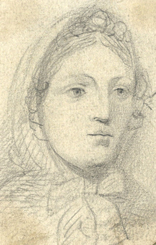 Marmaduke A. Langdale, Woman in Bonnet - 19th-century graphite drawing