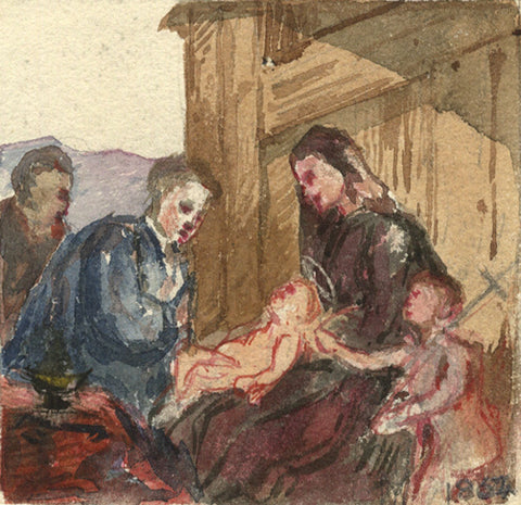 Marmaduke A. Langdale, Nativity Scene - 1864 watercolour painting