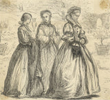 A.C.H. Luxmoore, Three Elizabethan Ladies - 19th-century pen & ink drawing