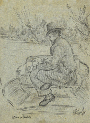 A.C.H. Luxmoore, Artist Sketching at Windsor - 1875 charcoal drawing