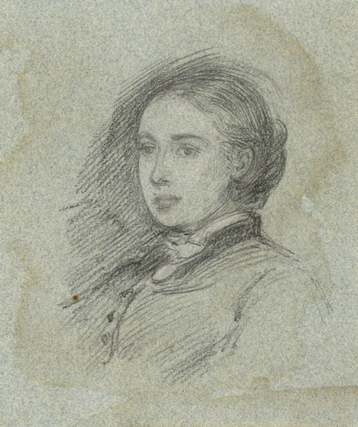 A.C.H. Luxmoore, Portrait of a Young Woman - 19th-century charcoal drawing