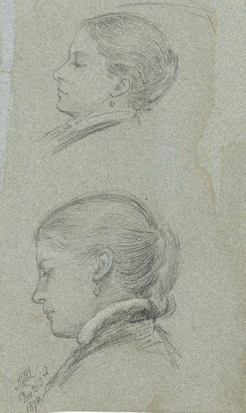 A.C.H. Luxmoore, Portrait Sketches of a Young Woman - 1878 charcoal drawing