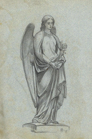 A.C.H. Luxmoore, Angel Sculpture Study - 1875 charcoal drawing