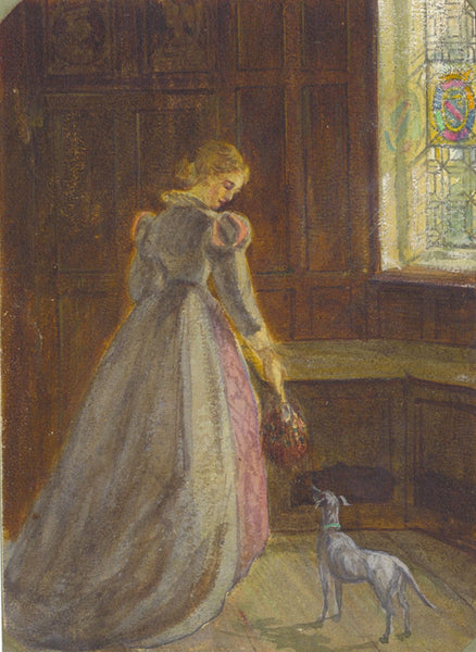A.C.H. Luxmoore, Elizabethan Girl with Dog - 19th-century watercolour painting
