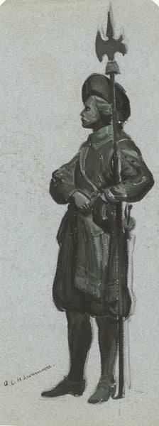 A.C.H. Luxmoore, Elizabethan Guard with Spear -19th-century watercolour painting