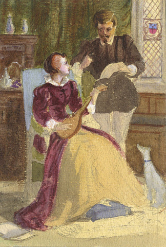 Marmaduke A. Langdale, Elizabethan Lovers - 19th-century watercolour painting