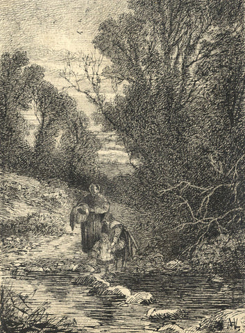 Marmaduke A. Langdale, Children on Stepping Stones - 1864 pen & ink drawing