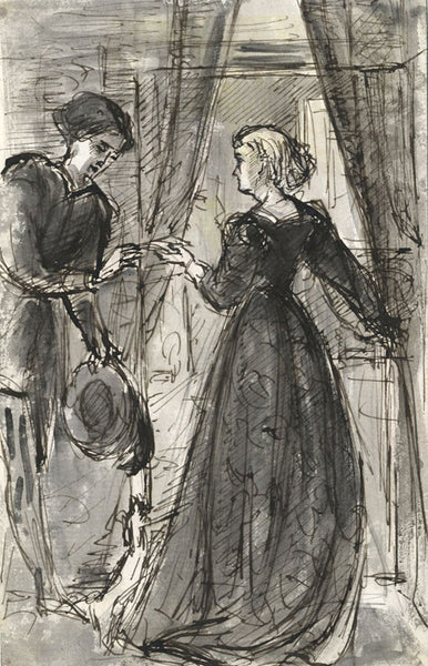 Marmaduke A. Langdale, Elizabethan Woman & Suitor-19th-century pen & ink drawing