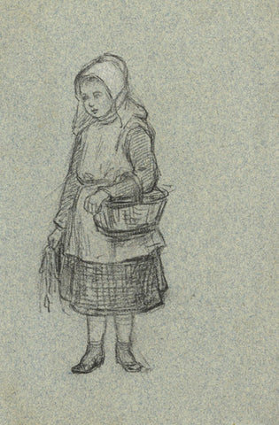 A.C.H. Luxmoore, Girl with Basket - 19th-century charcoal drawing