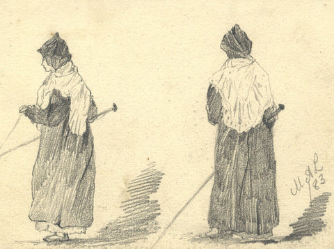 Marmaduke A. Langdale, Blind Woman with Stick - 1883 watercolour painting