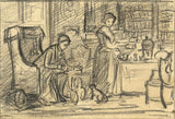 A.C.H. Luxmoore, Domestic Interior with Ladies - 19th-century charcoal drawing
