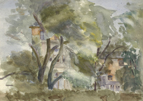 Marmaduke A. Langdale, Houses through Trees - 19th-century watercolour painting