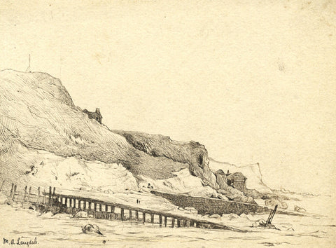 Marmaduke A. Langdale, Coastal Cliffs - 19th-century pen & ink drawing