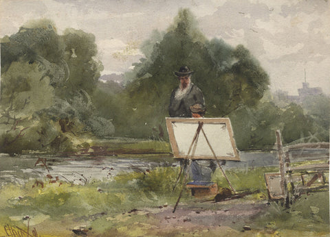 George Dunkerton Hiscox, Painting with M.A. Langdale - 19th-century watercolour
