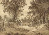 Marmaduke A. Langdale, Sepia Farm View - 1881 watercolour painting