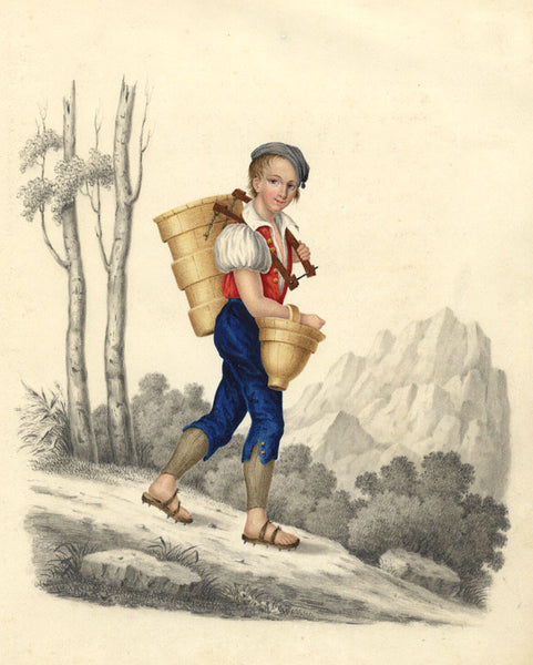 Alpine Boy with Baskets - Original early 19th-century watercolour painting