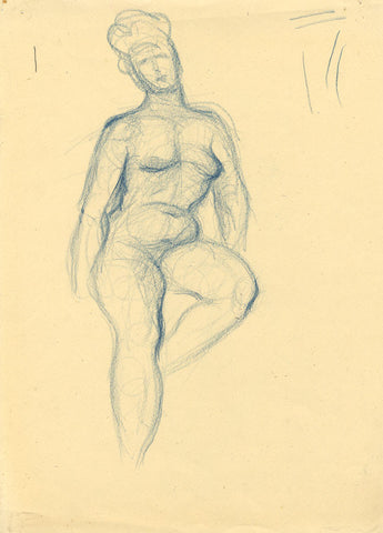 Nude Figure Study - Original mid-20th-century pastel drawing