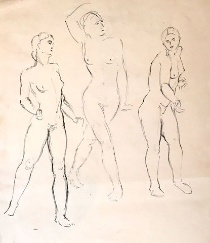 Female Nude Studies - Original mid-20th-century pen & ink drawing