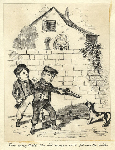 Victorian Pen & Ink Cartoon Drawing after Seymour, Urchins with Pistol