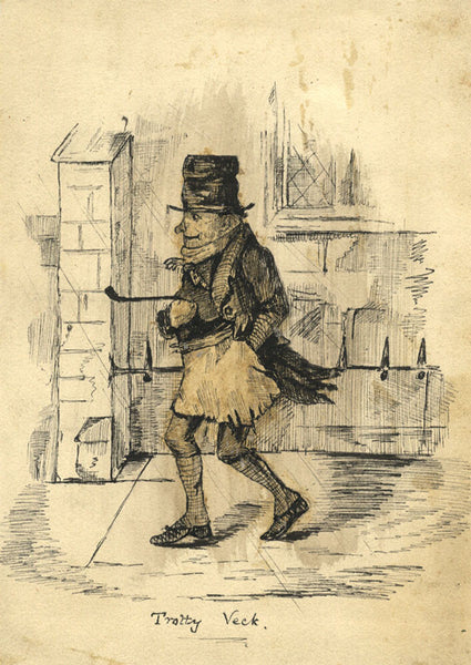 Victorian Pen & Ink Drawing, Charles Dickens' Trotty Veck after John Leech