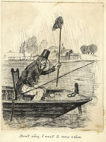 Victorian 19th-century Pen & Ink Cartoon Drawing, Gentleman Angler in the Rain