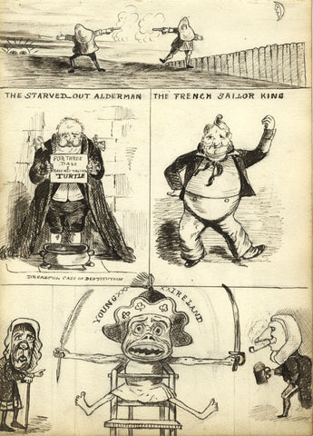 Victorian Pen & Ink Satirical Cartoon after John Leech, The Starved-out Alderman