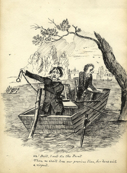 Victorian Pen & Ink Cartoon after CS Tregear Print Oh! Bill I can't fix the punt