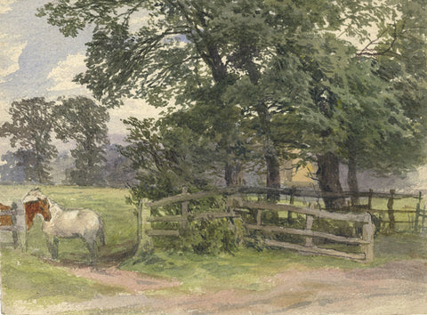 Frederick George Reynolds, Ponies, Hornsey - 19th-century watercolour painting