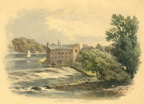 Frederick George Reynolds, Chester Weir - 19th-century watercolour painting