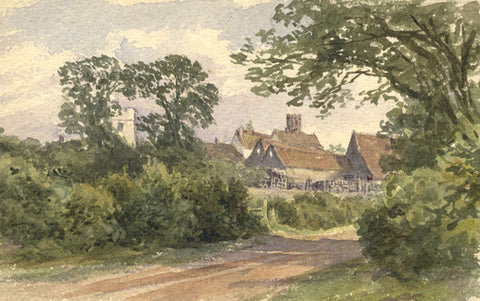 Frederick George Reynolds, Rural Village View -19th-century watercolour painting