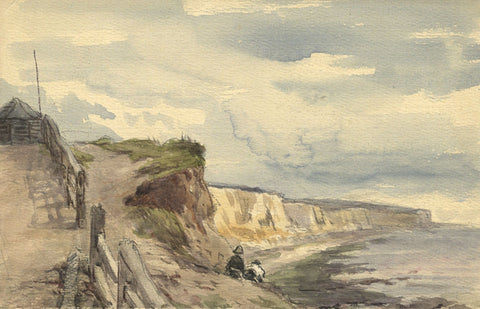 Frederick George Reynolds, Cliffs, Brighton - 19th-century watercolour painting
