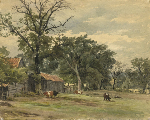Frederick George Reynolds, Cows Grazing, Southgate - 19th-century watercolour