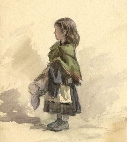 Frederick George Reynolds, Young Girl in Cape -19th-century watercolour painting