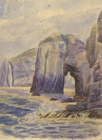 A.E.N., Chapel Rock, Perranporth, Cornwall - 19th-century watercolour painting