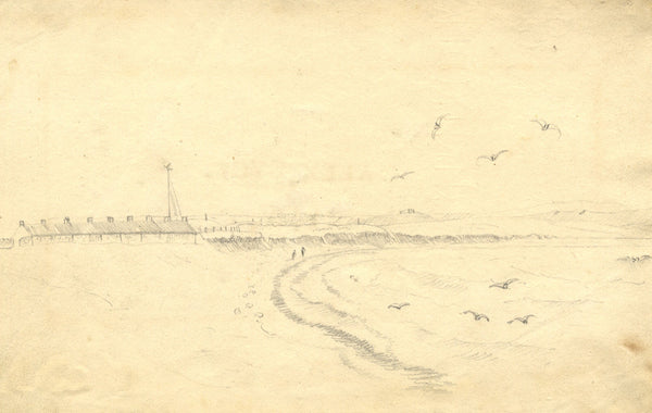 Alexander Dyce, Coastal View, East Lothian, Scotland - 1810 graphite drawing