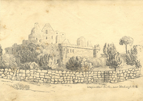 Alexander Dyce, Craigmillar Castle, Edinburgh - Original 1812 graphite drawing