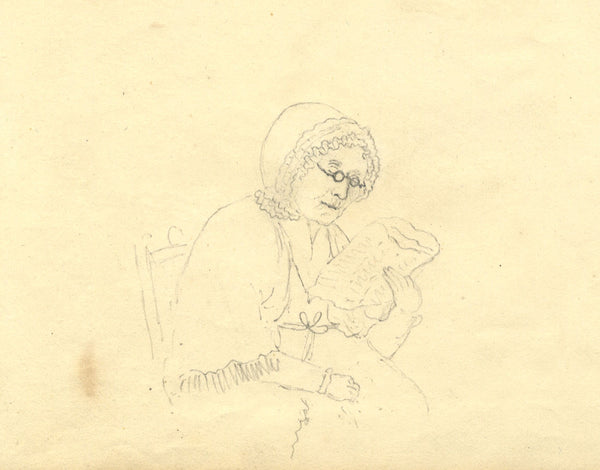 Alexander Dyce, Grandma Reading - Original 1810 graphite drawing