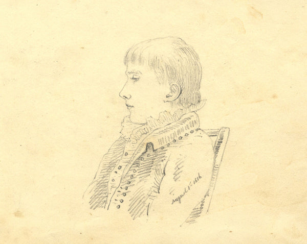 Alexander Dyce, Seated Boy in Profile - Original 1816 graphite drawing