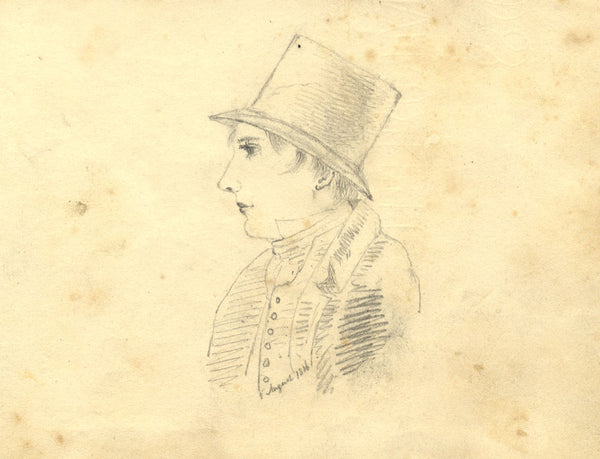 Alexander Dyce, Young Man in Top Hat - Original 1816 graphite drawing