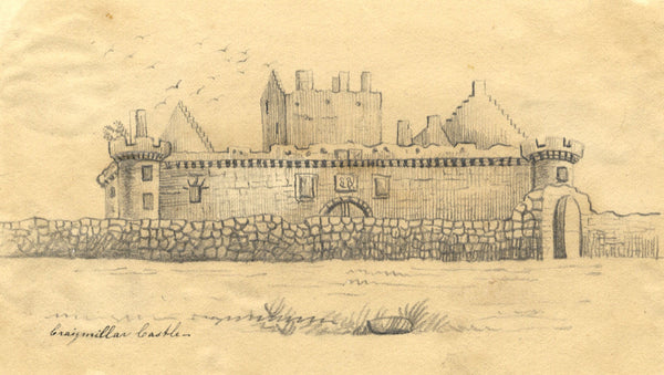 Alexander Dyce, Craigmillar Castle, Edinburgh - Original 1810 graphite drawing