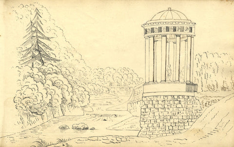 Alexander Dyce, St Bernards Well Water of Leith Edinburgh-1810 pen & ink drawing